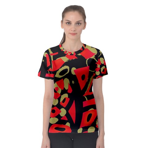 Red artistic design Women s Sport Mesh Tee