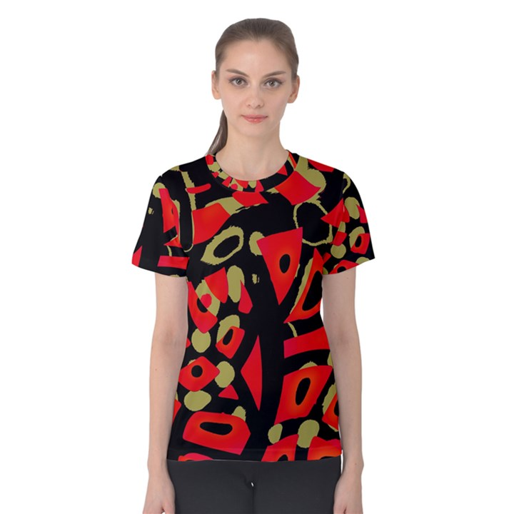 Red artistic design Women s Cotton Tee