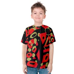 Red Artistic Design Kids  Cotton Tee