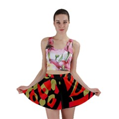 Red Artistic Design Mini Skirt