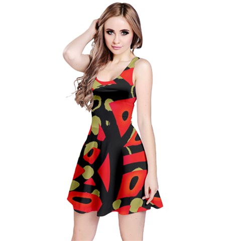 Red artistic design Reversible Sleeveless Dress