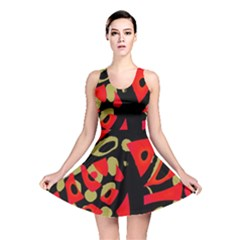 Red artistic design Reversible Skater Dress