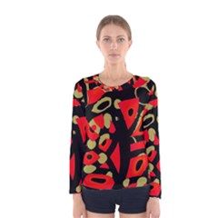 Red artistic design Women s Long Sleeve Tee