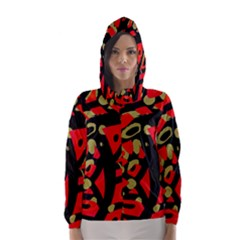 Red artistic design Hooded Wind Breaker (Women)