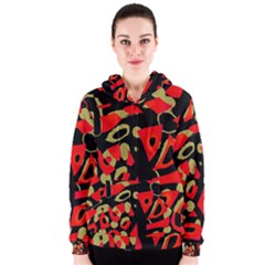 Red artistic design Women s Zipper Hoodie