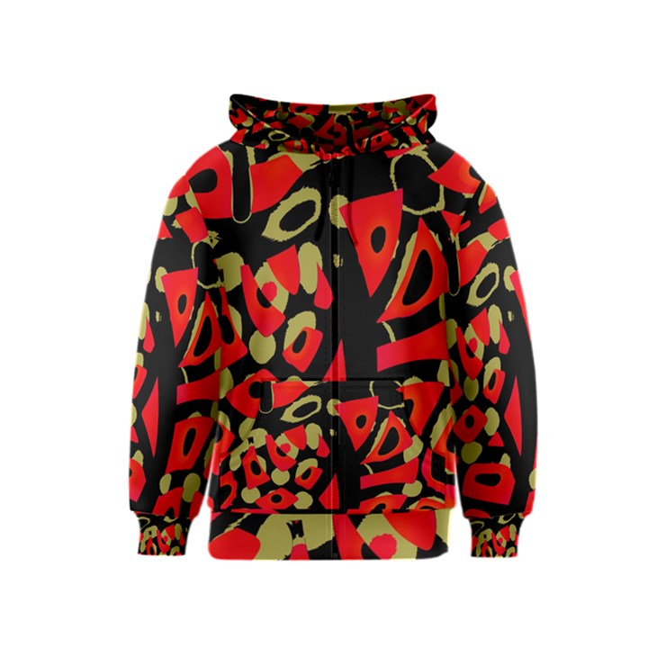 Red artistic design Kids  Zipper Hoodie