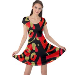 Red Artistic Design Cap Sleeve Dresses