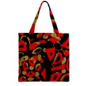 Red artistic design Zipper Grocery Tote Bag View1