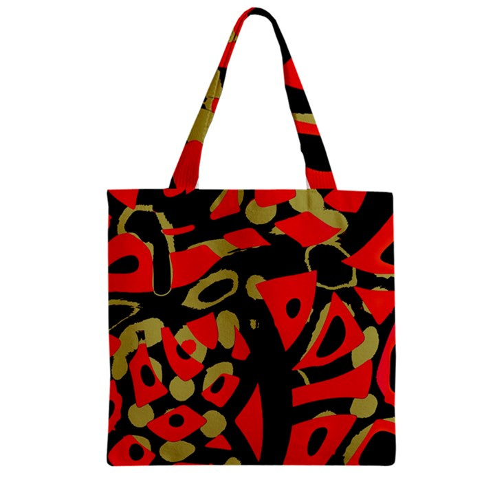 Red artistic design Zipper Grocery Tote Bag