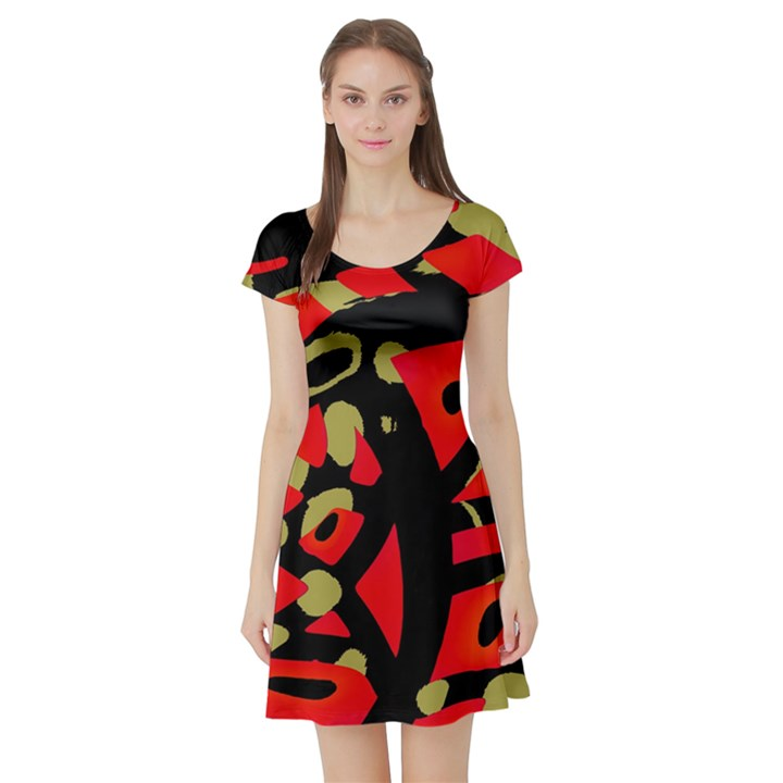 Red artistic design Short Sleeve Skater Dress