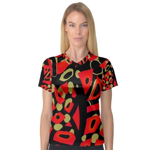 Red artistic design Women s V-Neck Sport Mesh Tee