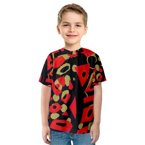 Red artistic design Kids  Sport Mesh Tee