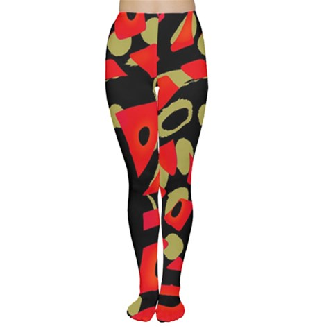 Red artistic design Women s Tights
