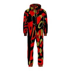 Red Artistic Design Hooded Jumpsuit (kids)