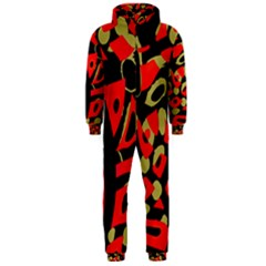 Red artistic design Hooded Jumpsuit (Men)