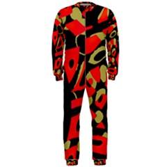 Red artistic design OnePiece Jumpsuit (Men)