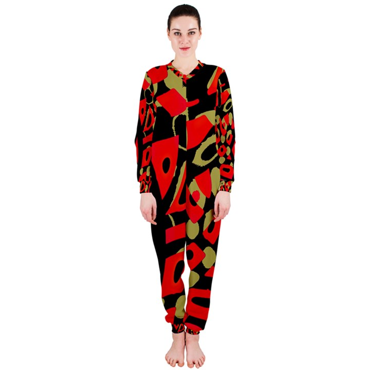 Red artistic design OnePiece Jumpsuit (Ladies)