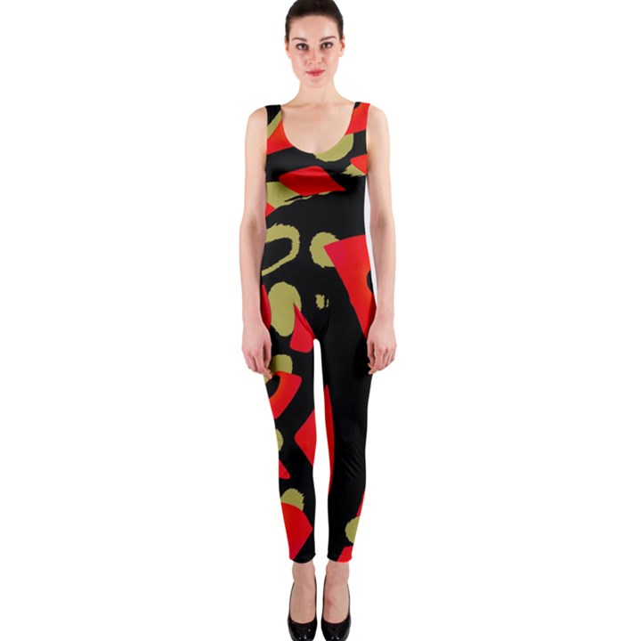 Red artistic design OnePiece Catsuit