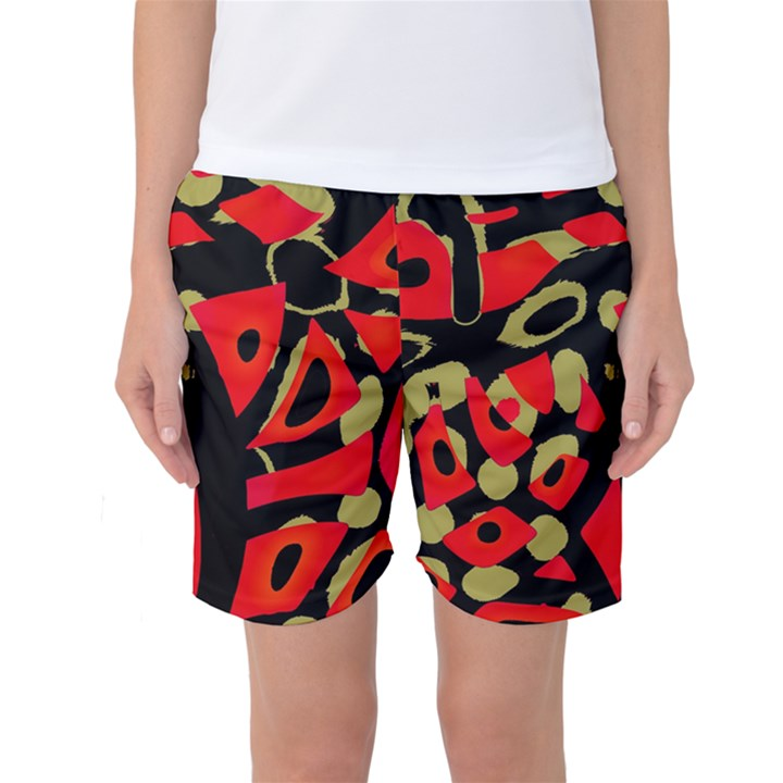 Red artistic design Women s Basketball Shorts
