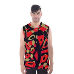 Red Artistic Design Men s Basketball Tank Top