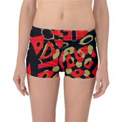 Red artistic design Boyleg Bikini Bottoms