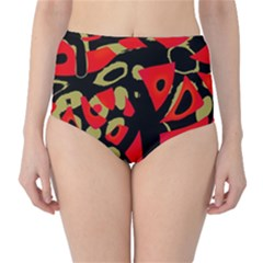 Red artistic design High-Waist Bikini Bottoms