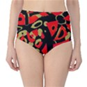 Red artistic design High-Waist Bikini Bottoms View1