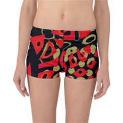 Red artistic design Reversible Boyleg Bikini Bottoms