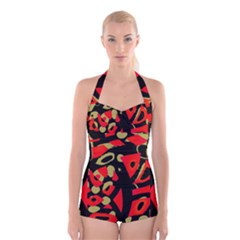 Red artistic design Boyleg Halter Swimsuit