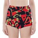 Red artistic design High-Waisted Bikini Bottoms View1