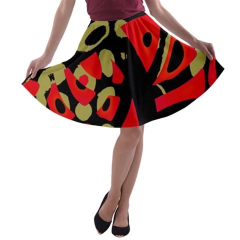 Red artistic design A-line Skater Skirt