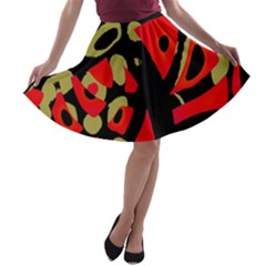 Red artistic design A-line Skater Skirt