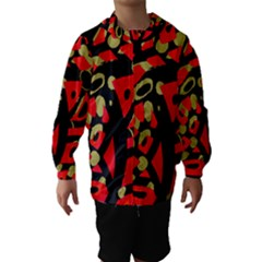 Red Artistic Design Hooded Wind Breaker (kids)