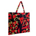 Red artistic design Zipper Large Tote Bag View2