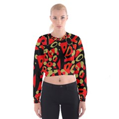 Red Artistic Design Women s Cropped Sweatshirt