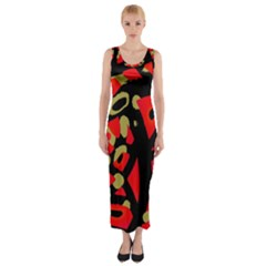 Red artistic design Fitted Maxi Dress
