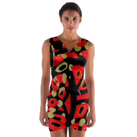 Red artistic design Wrap Front Bodycon Dress