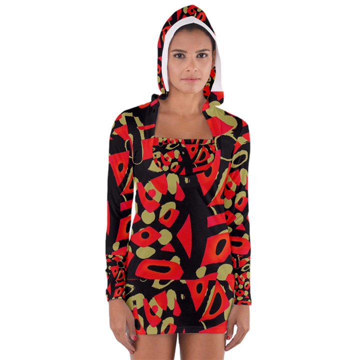 Red artistic design Women s Long Sleeve Hooded T-shirt