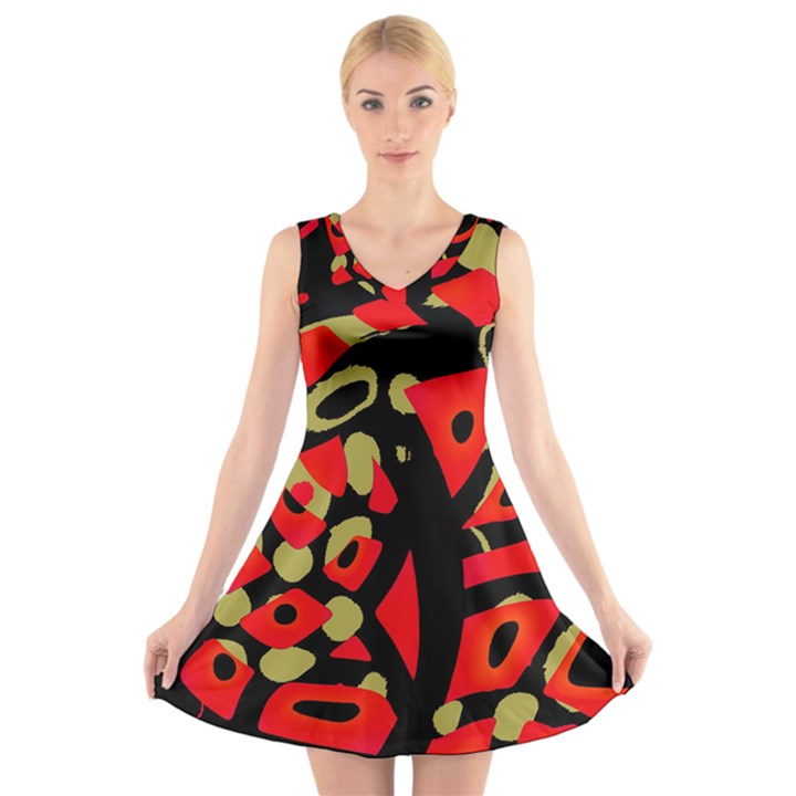 Red artistic design V-Neck Sleeveless Skater Dress