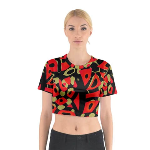 Red artistic design Cotton Crop Top