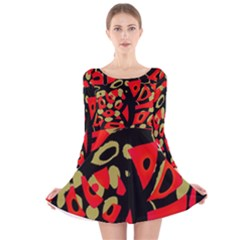 Red artistic design Long Sleeve Velvet Skater Dress