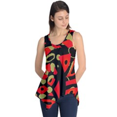 Red artistic design Sleeveless Tunic