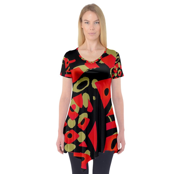 Red artistic design Short Sleeve Tunic