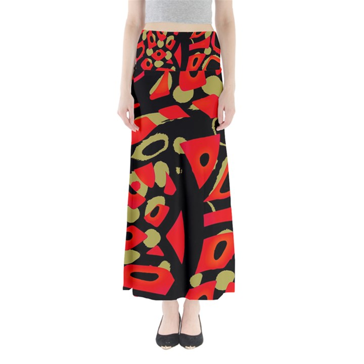 Red artistic design Maxi Skirts