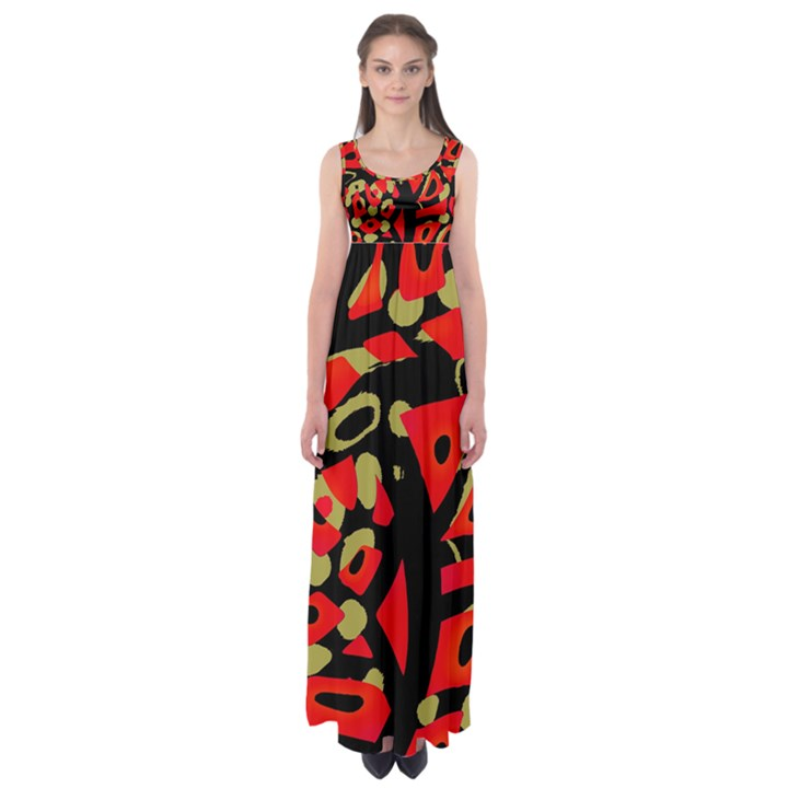 Red artistic design Empire Waist Maxi Dress