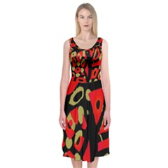 Red artistic design Midi Sleeveless Dress