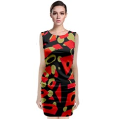 Red artistic design Classic Sleeveless Midi Dress