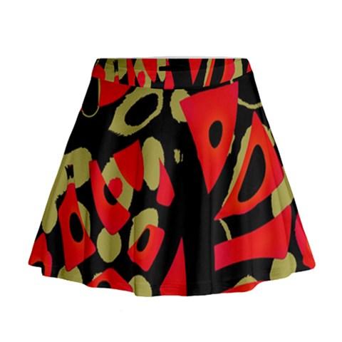 Red artistic design Mini Flare Skirt