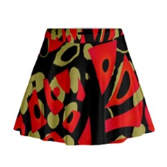 Red artistic design Mini Flare Skirt