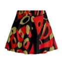 Red artistic design Mini Flare Skirt View1